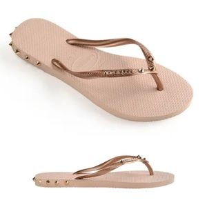 Spiked Havaianas Slim Rocky Rose Gold Ballet